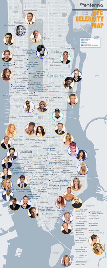NYC celebrities map 2021 | Local records offices
