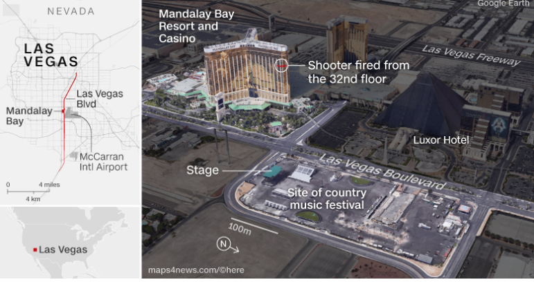 las vegas shooting map location