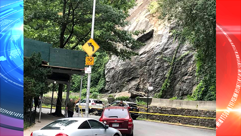 Falling Rocks Smash Cars Near Uptown Subway Station in Fort Tryon Park