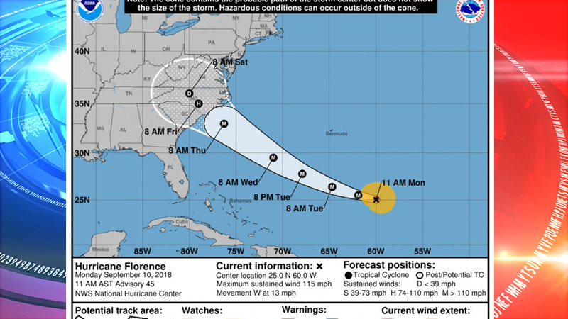 Hurricane Florence has been upgraded to a Category 4 hurricane, officials are describing as a 'life-threatening storm' (VIDEO)