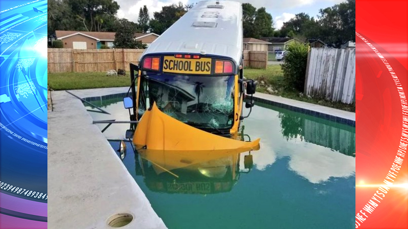 Orlando school bus carrying nine children crashed into a swimming pool