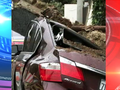 SoCal rain causes wall to fall on parked cars, causing gas leaks