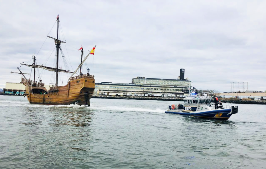 Pirate ship gets stuck during low tide off the coast of Brooklyn